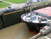 Ship in the Panama Channel Lock — Stock Photo