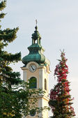 Bell tower of the Austrian Kirche — Stock Photo