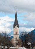 Evangelic church in Alps — Stock Photo