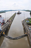 Ship waiting to eneter Panama Channel Lock — Stock Photo