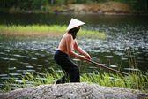 The Samurai at lake — Stock Photo