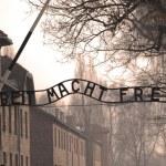 Auschwitz sign in sepia — Stock Photo