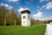 Watch tower on the perimeter of the Dachau concentration camp — Stock Photo