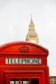 Traditional red London phone booth — Stock Photo