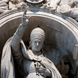 Stock Photo: Pope statue inside st peter basilica