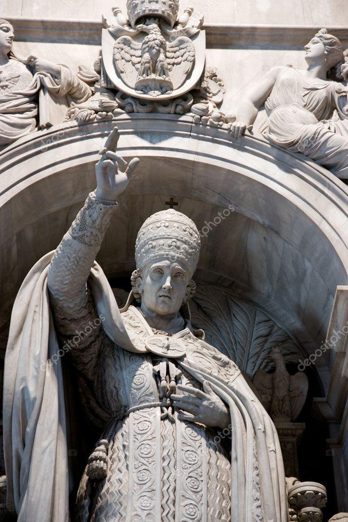 Pope Statue Inside St Peter Basilica