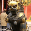 Close up golden chinese's lion guard — Stock Photo