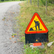Swedish road work sign — Stock Photo