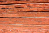 Red log wall — Stock Photo