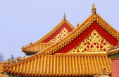 Yellow rooftops inside forbidden city Beijing — Stock Photo
