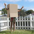 Cardboard box monster (blank version, create your own monster face) — Stock Photo