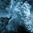 Stock Photo: Volcanic eruption at night