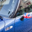 Stock Photo: British Patriotism shown on car mirror
