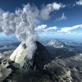 Volcanic eruption at night — Stock Photo