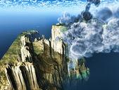 Volcanic eruption on Pirate island — Stock Photo