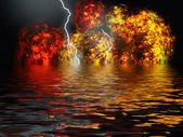Volcanic eruption with huge lightning — Stock Photo