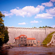 One hundred  years old  dam in Pilichowice, Poland - Stock Photo