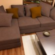 Modern bright living room with sofa — Stock Photo