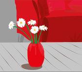 Daisies in vase — Stock Vector