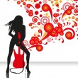 Woman and guitar — Imagen vectorial