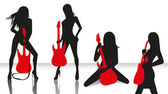 Girls band with guitars — Stockvektor