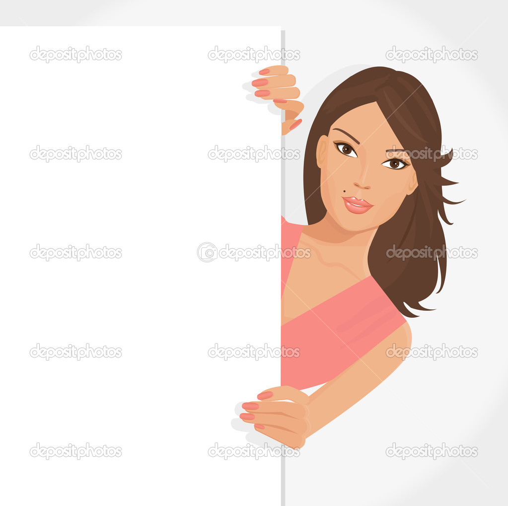 Illustration of posing girl with white poster for your information and design  Stock Vector #6405553