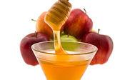 Honey and apple — Stock Photo