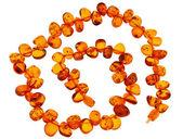 Amber necklace on white background — Stock Photo