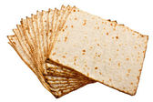 Pieces matzot prepared for celebrating passover ceremony — Stockfoto