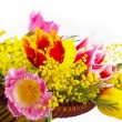 Spring flowers in a basket — Stock Photo