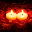 Candles on rose petals — Stock Photo #6419701