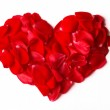 Rose petals heart isolated on white — Stock Photo