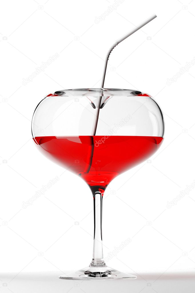3d heart coctail glass isolated on white — Stock Photo #6420232