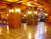 Wooden luxury indoor with lights — Stock Photo