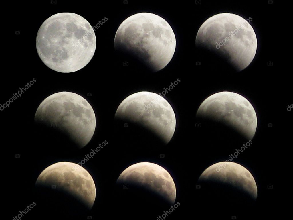 Different phases of the moon eclipse that took place on 16th august 2008  Stock Photo #6391347