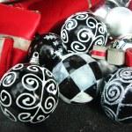 Christmas balls , black and white — Stock Photo