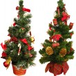 Two little Christmas trees as a decoration ornaments, isolated in white — Stock Photo #6401519