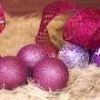 Royalty-Free Stock Photo: Christmas balls and decoration closeup,in purple and pink colors