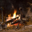 图库照片: Hot burning fireplace