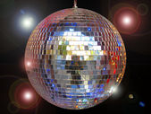 Disco ball with sparkles isolated in black — Stock Photo