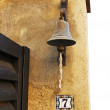 Old fashioned bell as doorbell — Stok fotoğraf