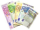 Different euro bills isolated in white — Stock Photo