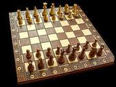 Houten witte en bruine schaakbord met uitgelijnde stukken, geïsoleerde in zwart, g — Stockfoto