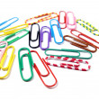 Colorful paper clips isolated in white - Stock Photo