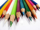 Various colorful pencils in a close up — Stock fotografie