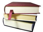 Kırpma yolu ile beyaz izole kitap yığını — Stok fotoğraf