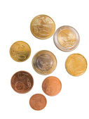 Different euro coins and cents isolated in white — Stock Photo