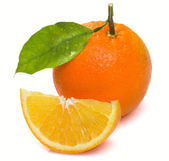 Wet with a slice of orange and leaf — Stock Photo