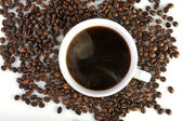 Taza de café y granos de café — Foto de Stock
