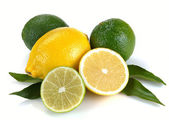 Lemon and lime with leaves — Stock Photo